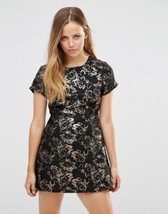 Жаккардовое платье с цветочным узором Motel Cheeky - Черный