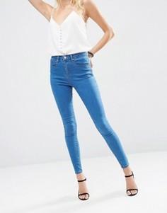 Выбеленные джинсы с завышенной талией ASOS Premium Sculpt Me - Синий