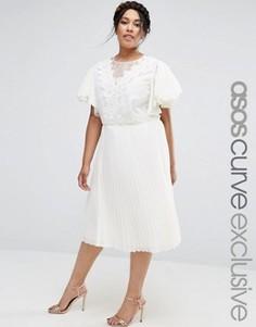 Платье миди с отделкой кроше и вставками из органзы ASOS CURVE - Кремовый