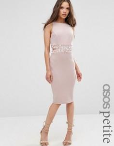 Облегающее платье миди с открытой спиной ASOS PETITE - Бежевый