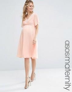 Платье миди с кружевом и складками ASOS Maternity WEDDING - Розовый