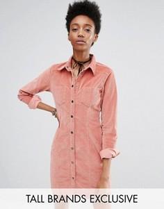 Розовое вельветовое платье на пуговицах Glamorous Tall - Розовый