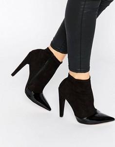 Ботильоны на каблуке со вставкой на носке Little Mistress Bogart - Черный