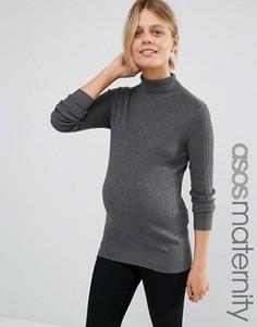 Джемпер для беременных в рубчик с высокой горловиной ASOS Maternity - Серый