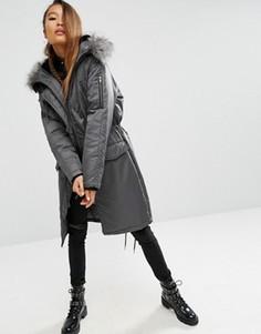 Дутая парка с меховой подкладкой на капюшоне ASOS Premium - Серый