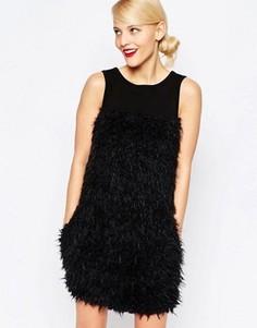 Платье с меховыми вставками Love Moschino - Черный
