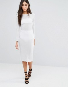 Платье-футляр миди с длинными рукавами Glamorous - Серебряный