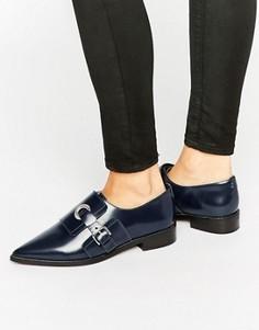 Кожаные туфли на плоской подошве ASOS MADAME - Темно-синий