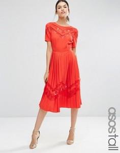 Плиссированное платье миди с кружевными вставками ASOS TALL Premium - Красный