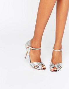 Серебристые сандалии на каблуке True Decadence - Серебряный