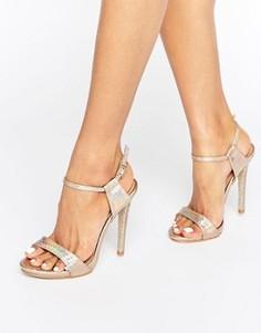 Золотистые голографические сандалии на каблуке Public Desire Riya - Золотой