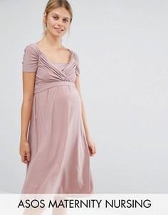Свободное платье для кормящих мам Queen Bee - Розовый