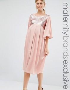 Платье макси с пайетками Queen Bee - Розовый