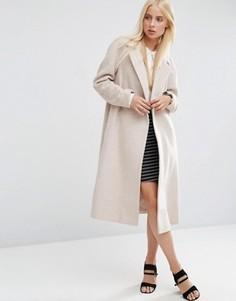 Пальто-трапеция средней длины из шерстяной смеси ASOS - Коричневый