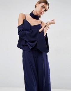 Топ с открытыми плечами и отделкой в стиле чокер ASOS WHITE - Темно-синий