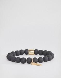 Черный матовый браслет с бисером и золотистой отделкой Chained & Able - Черный