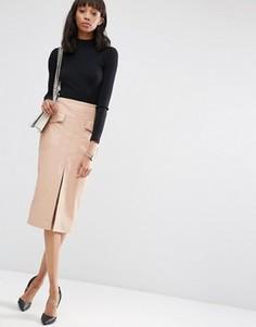 Полиуретановая юбка-карандаш с карманами и разрезом спереди ASOS - Бежевый