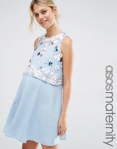 Платье для беременных с 3D цветочной отделкой кроп-топа ASOS Maternity - Синий