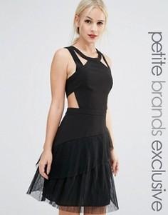 Приталенное платье с оборками и ремешками True Decadence Petite - Черный
