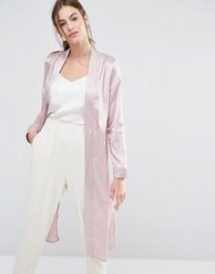 Легкое пальто-премиум в полоску Missguided - Розовый