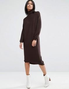 Вязаное платье миди с высокой горловиной ASOS - Коричневый