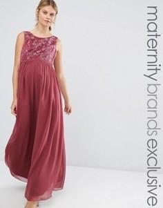 Платье макси для беременных с вышивкой на лифе Chi Chi London Maternity - Розовый