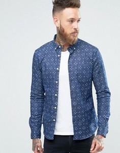 Темная джинсовая рубашка скинни с принтом ASOS - Темно-синий