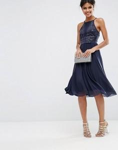 Платье миди для выпускного с сетчатой юбкой ASOS Hotfix Pinny - Темно-синий