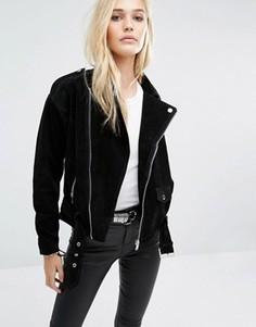 Замшевая байкерская куртка Noisy May - Черный
