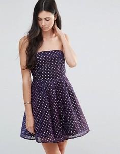 Приталенное платье-бандо в горошек Pixie & Diamond - Фиолетовый