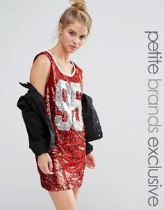 Свободное платье-майка мини с пайетками Liquor & Poker Petite - Красный