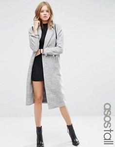 Пальто средней длины с рукавами летучая мышь ASOS TALL - Серый