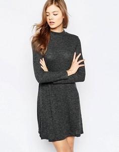 Свободное платье с длинными рукавами b.Young - Черный