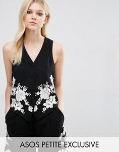 Жилет-смокинг с цветочной вышивкой ASOS PETITE Co-ord - Черный