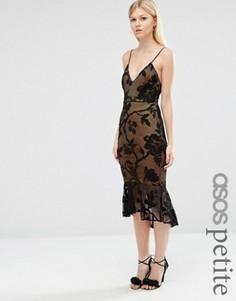 Кружевное платье миди с баской по краю ASOS PETITE - Черный