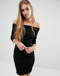 Платье в рубчик с открытыми плечами Rock & Religion Erin - Черный