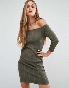 Платье в рубчик с открытыми плечами Rock & Religion Erin - Зеленый