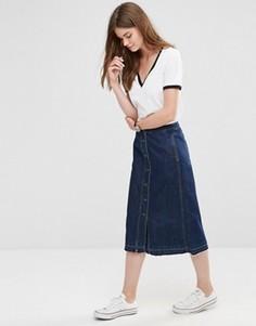 Джинсовая юбка‑трапеция миди на пуговицах Only - Синий