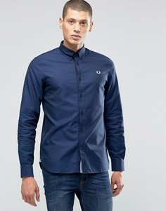 Темно-синяя оксфордская рубашка слим с логотипом Fred Perry - Темно-синий