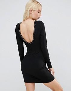 Платье мини с глубоким вырезом сзади и отделкой Forever Unique Gwyneth - Черный