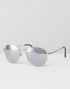 Круглые солнцезащитные очки с синими стеклами Black Phoenix - Золотой