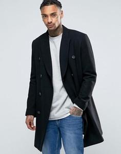 Полушерстяное черное двубортное пальто ASOS - Черный