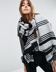 Длинный тканый oversize-шарф в монохромную полоску ASOS - Мульти