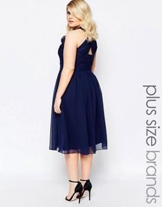 Платье миди с глубоким вырезом и перекрестом сзади Forever Unique Plus - Темно-синий