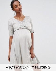 Приталенное платье для беременных и кормящих мам из добби в горошек ASOS Maternity - Серый