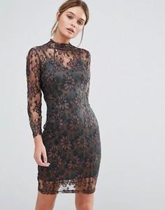 Облегающее кружевное платье цвета металлик Body Frock Leah - Коричневый