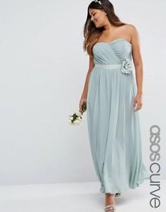 Шифоновое платье макси с цветочной отделкой ASOS CURVE WEDDING - Серый