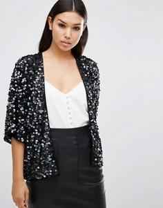 Пиджак с отделкой пайетками ASOS - Черный