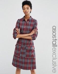 Платье-рубашка в клетку ASOS TALL - Мульти