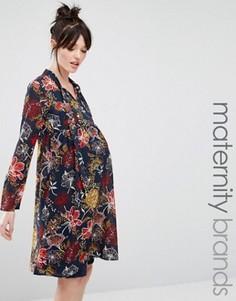 Свободное платье с горловиной на завязке и принтом Mamalicious - Мульти Mama.Licious